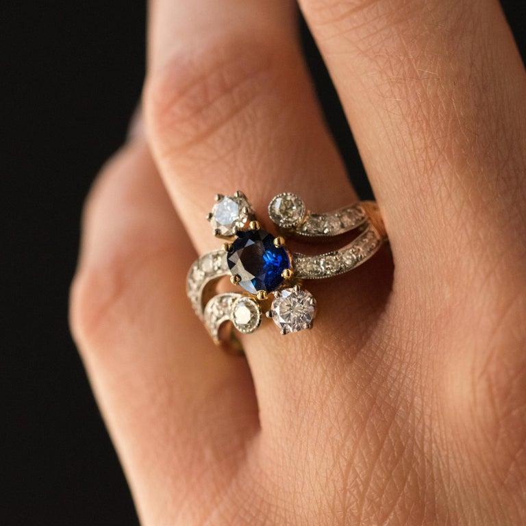 French Modern Sapphire Diamonds 18 Karat Yellow Gold Platinum Ring For Sale 1
