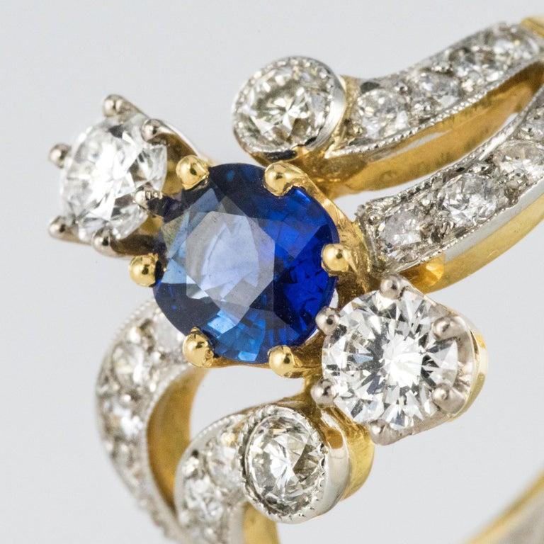 French Modern Sapphire Diamonds 18 Karat Yellow Gold Platinum Ring For Sale 2