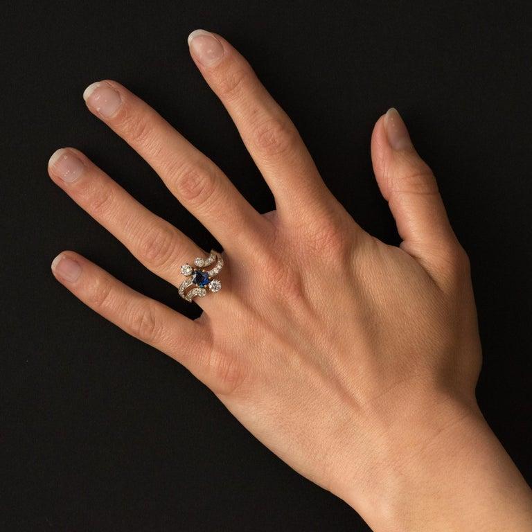 French Modern Sapphire Diamonds 18 Karat Yellow Gold Platinum Ring For Sale 3