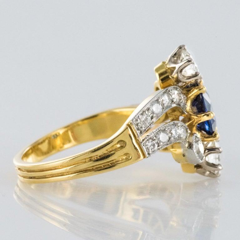 French Modern Sapphire Diamonds 18 Karat Yellow Gold Platinum Ring For Sale 7
