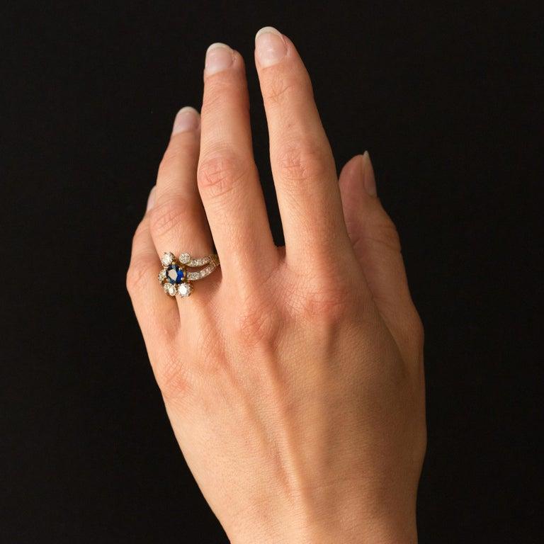 French Modern Sapphire Diamonds 18 Karat Yellow Gold Platinum Ring For Sale 8