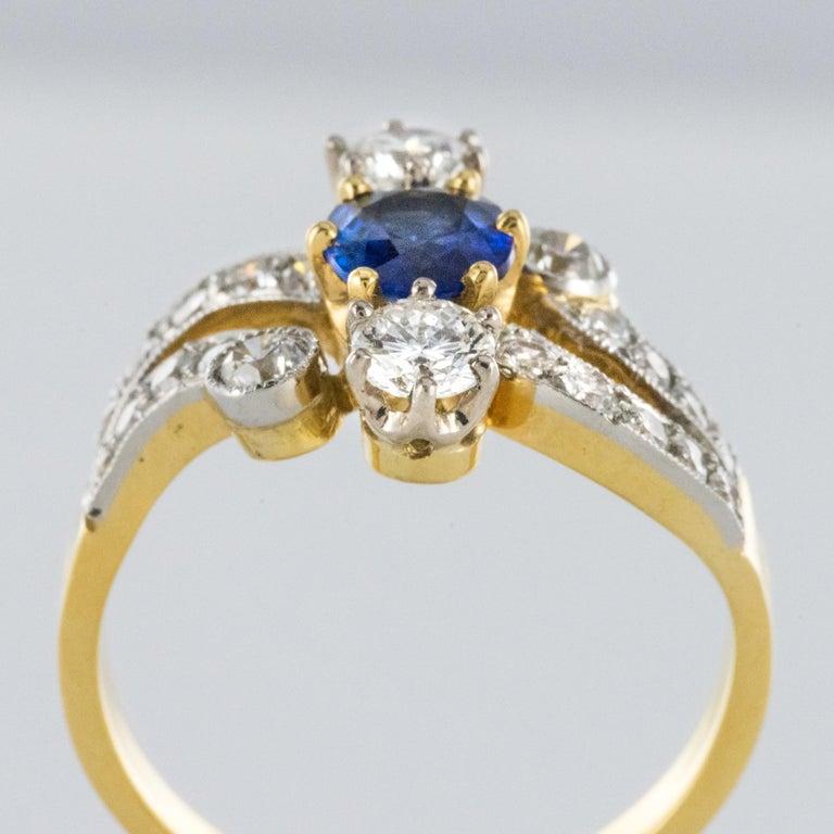 French Modern Sapphire Diamonds 18 Karat Yellow Gold Platinum Ring For Sale 6