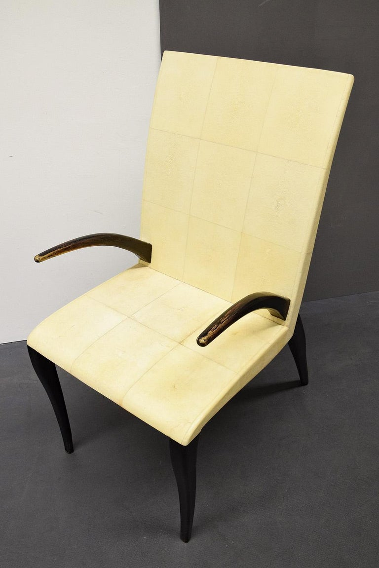 French modern Shagreen armchair by R and Y Augousti, Paris, 1980s.