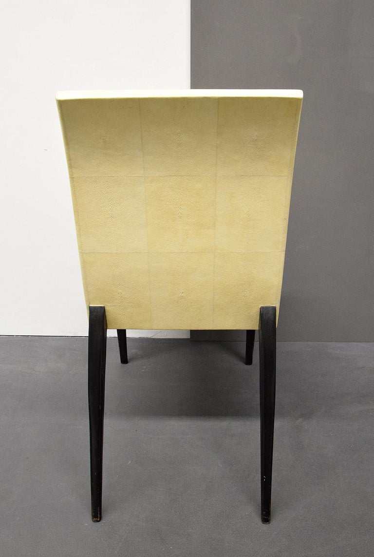 Mid-Century Modern French Modern Shagreen Armchair by R and Y Augousti, Paris, 1980s For Sale