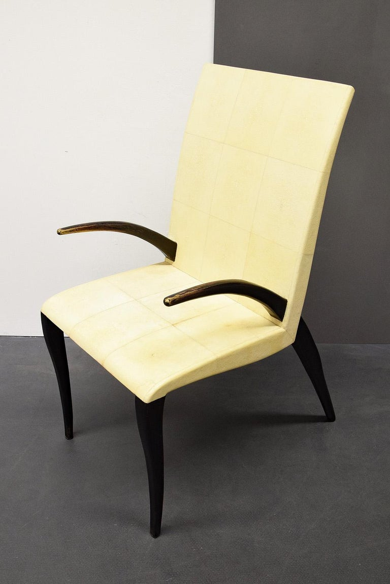 20th Century French Modern Shagreen Armchair by R and Y Augousti, Paris, 1980s For Sale