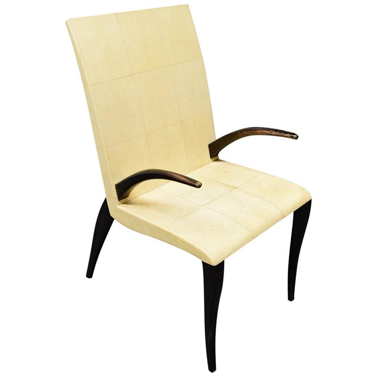 French Modern Shagreen Armchair by R and Y Augousti, Paris, 1980s For Sale