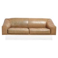 French Modern Sofa with Chrome Plinth Base
