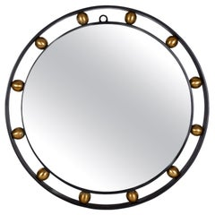 French Modern Style Round Wrought Iron Mirror with Brass Ball Detail