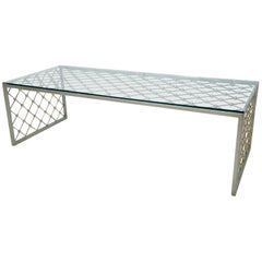 French Modern Style Steel and Brass Coffee Table