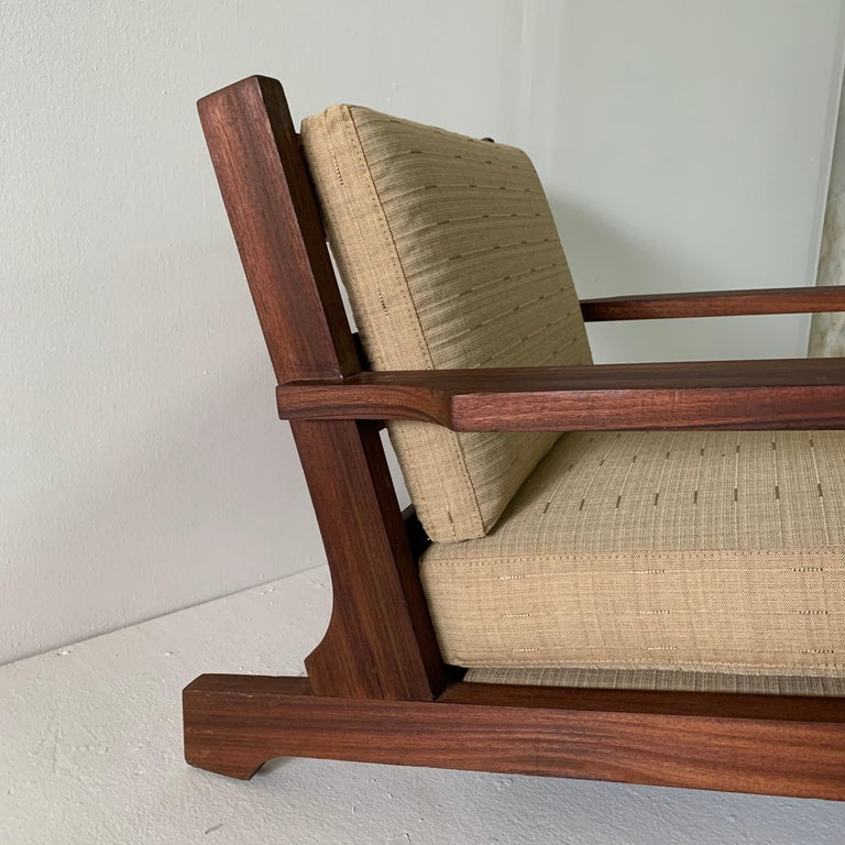 French Modern Style Teak Low-back Lounge Chair In Good Condition For Sale In East Hampton, NY