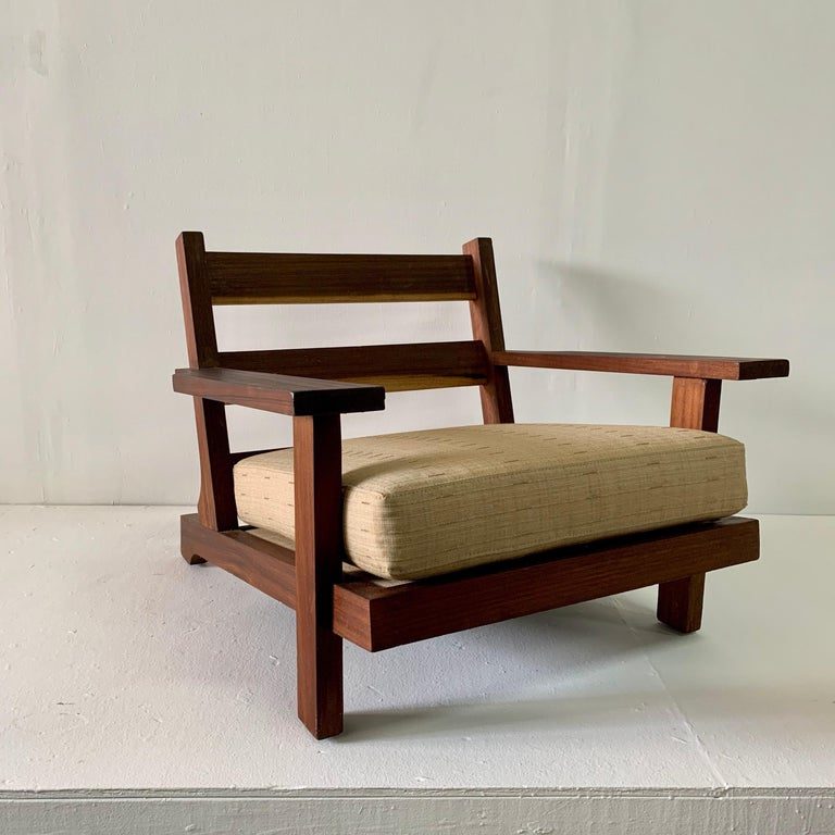 Mid-20th Century French Modern Style Teak Low-back Lounge Chair For Sale