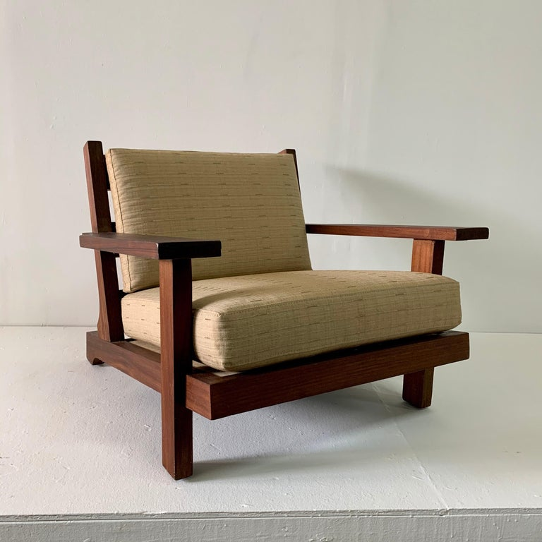 French Modern Style Teak Low-back Lounge Chair For Sale 1