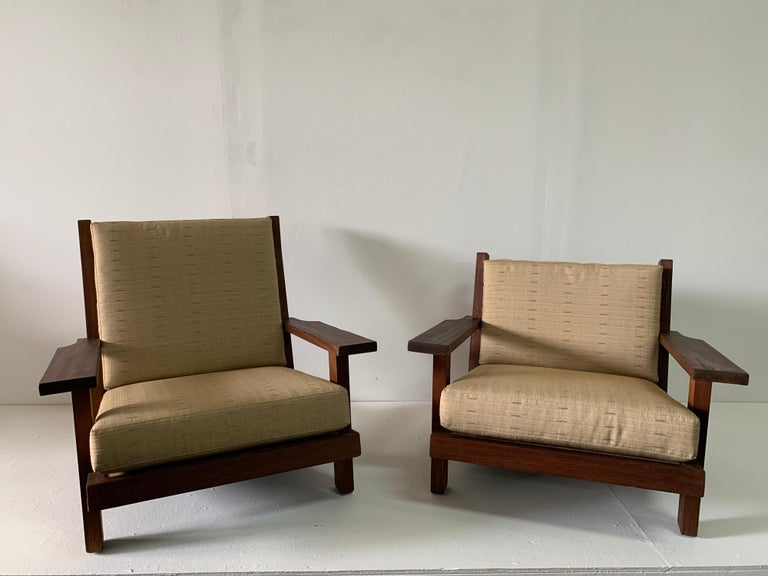 French Modern Style Teak Low-back Lounge Chair For Sale 5