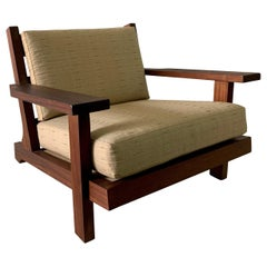 French Modern Style Teak Low-back Lounge Chair