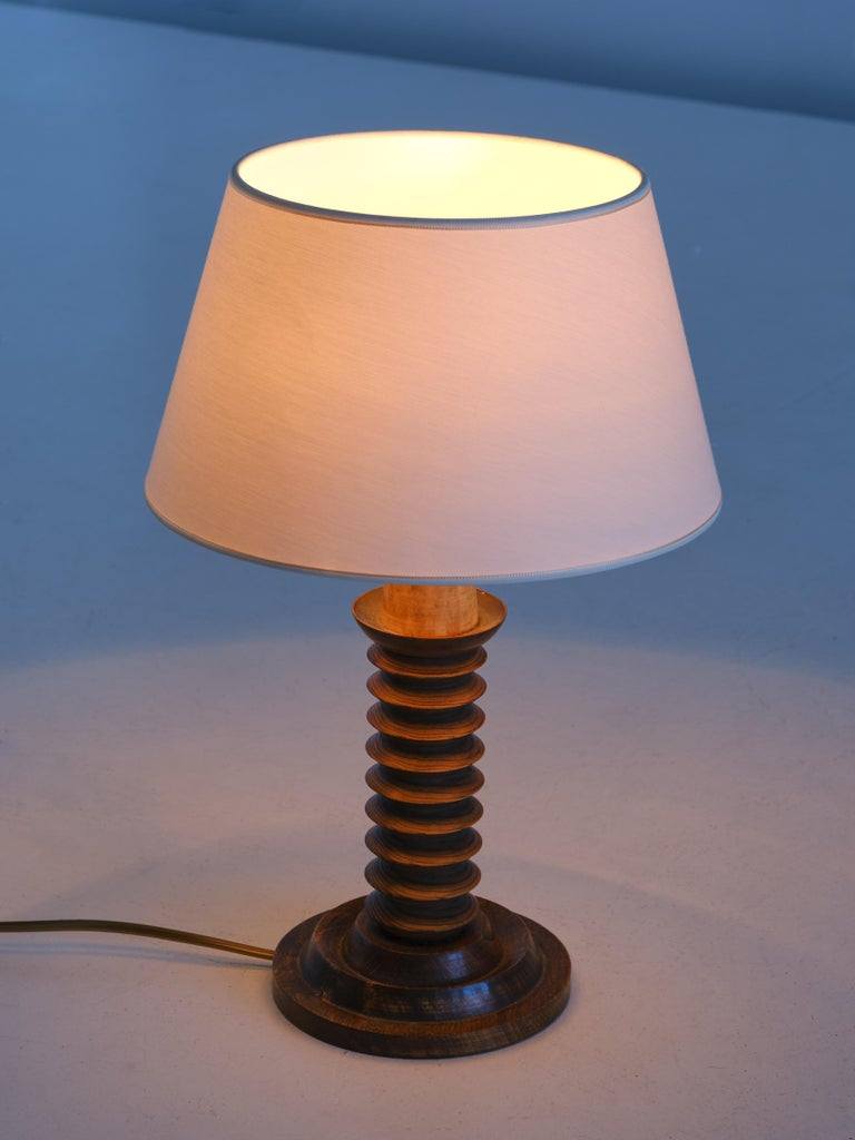 Mid-Century Modern French Modern Table Lamp in Oak with Ivory Shade, 1950s For Sale