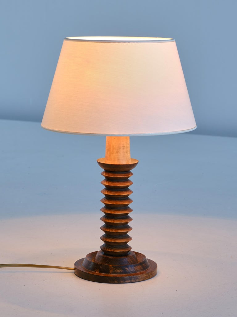 Fabric French Modern Table Lamp in Oak with Ivory Shade, 1950s For Sale