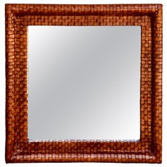 French Modern Woven Leather Mirror