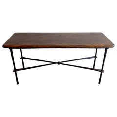 French Modern Wrought Iron & Walnut Console Table