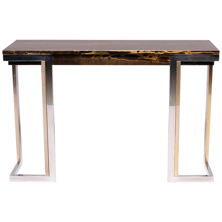 French Moderne Faux Marble Console With Chrome Legs For Sale At 1stdibs