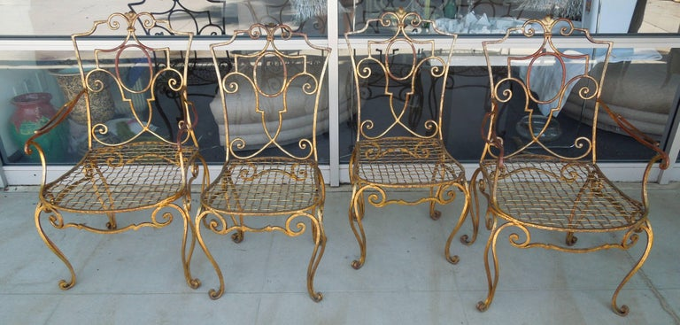 Baroque Revival French Moderne Set of Four Gold Gilt Iron Chairs by Jean-Charles Moreux For Sale