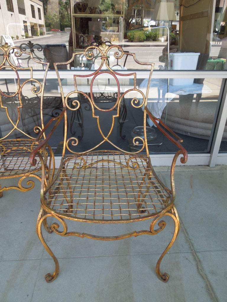 French Moderne Set of Four Gold Gilt Iron Chairs by Jean-Charles Moreux In Good Condition For Sale In Palm Springs, CA