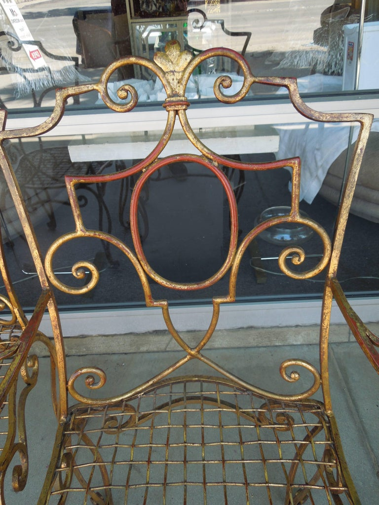20th Century French Moderne Set of Four Gold Gilt Iron Chairs by Jean-Charles Moreux For Sale