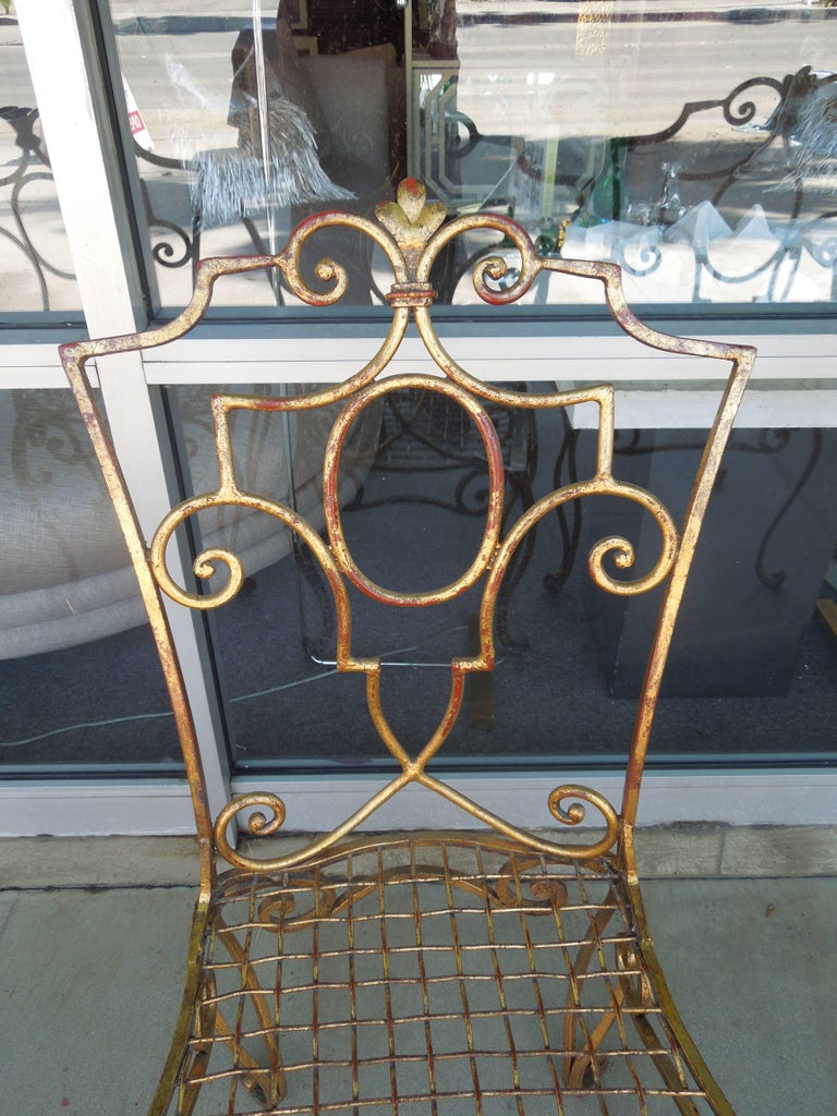 French Moderne Set of Four Gold Gilt Iron Chairs by Jean-Charles Moreux For Sale 2