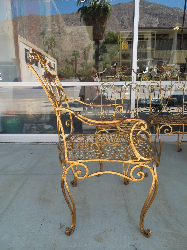 French Moderne Set of Four Gold Gilt Iron Chairs by Jean-Charles Moreux For Sale 3