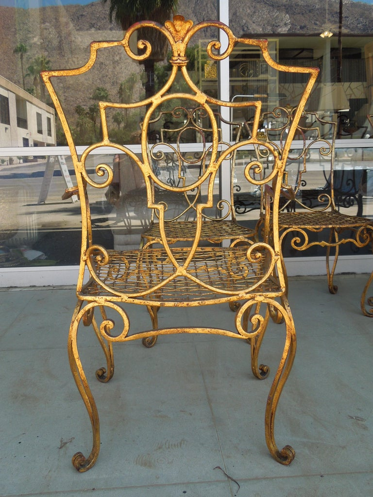 French Moderne Set of Four Gold Gilt Iron Chairs by Jean-Charles Moreux For Sale 4