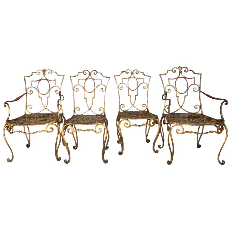 French Moderne Set of Four Gold Gilt Iron Chairs by Jean-Charles Moreux For Sale