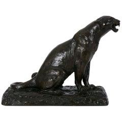 "French Modernism Bronze Sculpture ""Roaring Jaguar"" after Adolphe Geoffroy"