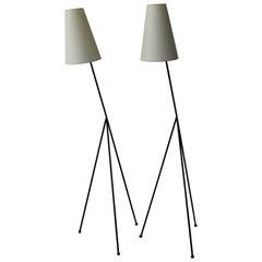 French Modernist 1950s Tripod Floor Lamp