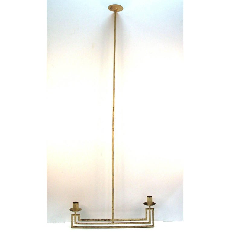 A French modernist architectural hanging light fixture made of tubular steel and painted in off-white. Made in the 1930s-1940s for an interior. Designer unknown, no hallmark or signature.
