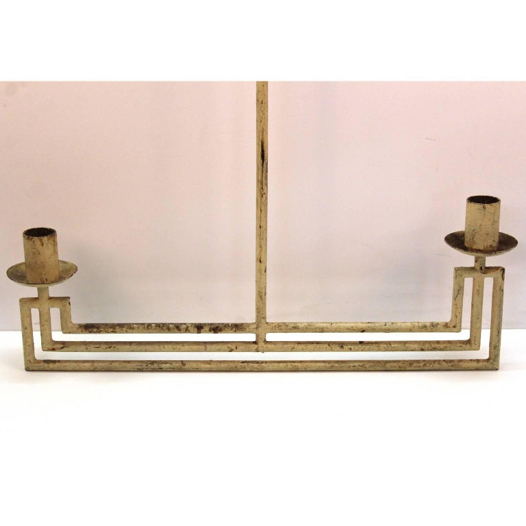 French Modernist Architectural Hanging Light Fixture In Good Condition For Sale In New York, NY