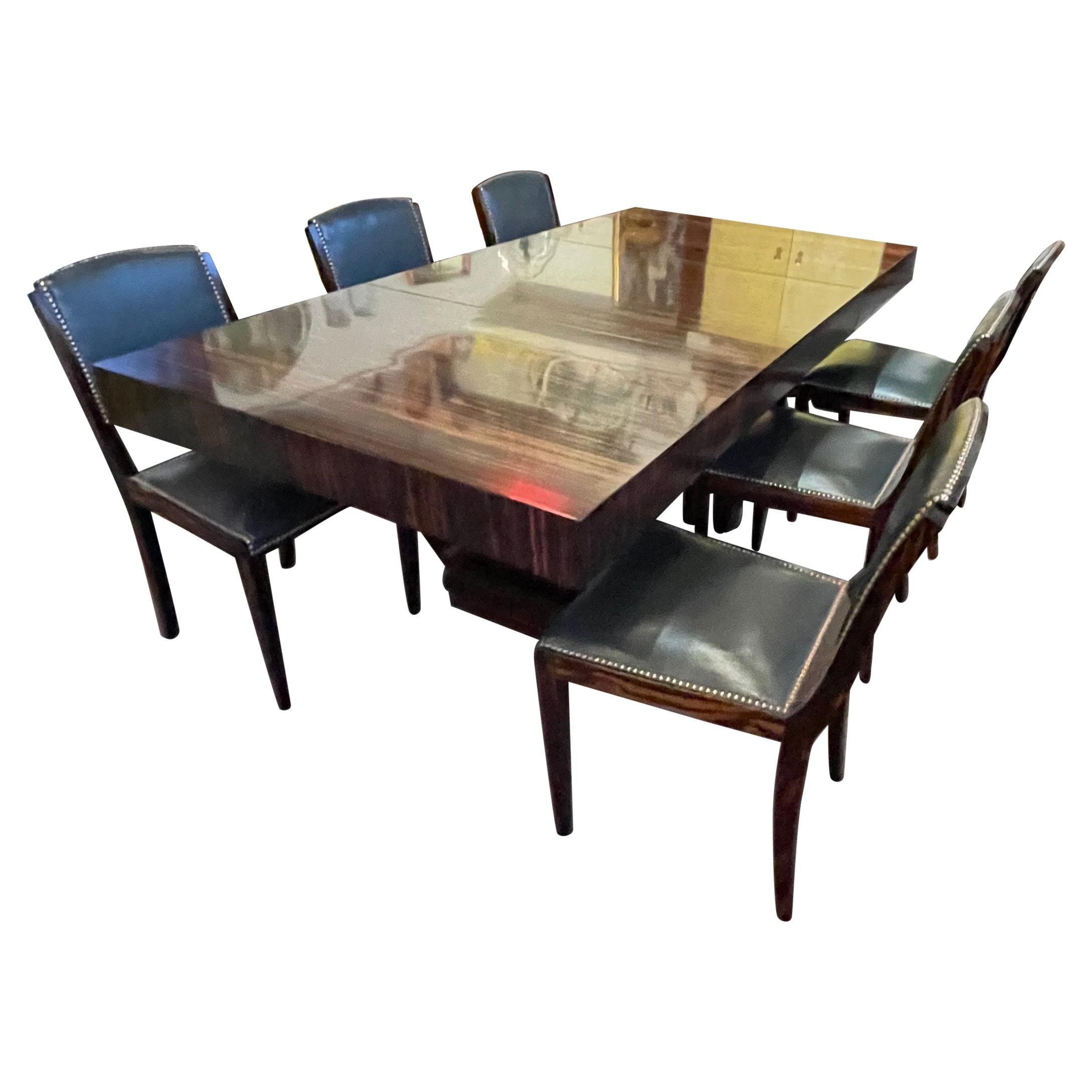 French Modernist Art Deco Macassar Wood Dining Table and 6 Matching Chairs