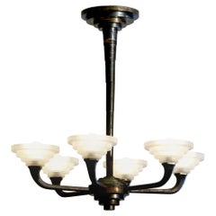French Modernist Art Deco Six-Arm Silver Plated Frosted Glass Chandelier