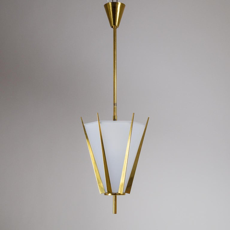 French Modernist Brass Pendant, circa 1960 For Sale 6