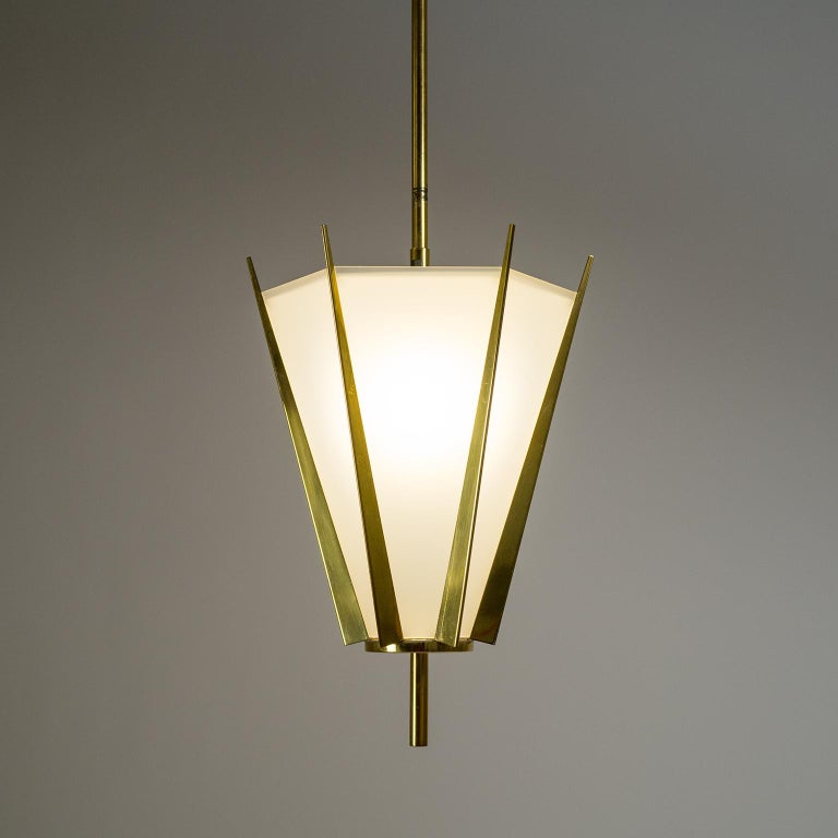 French Modernist Brass Pendant, circa 1960 For Sale 8