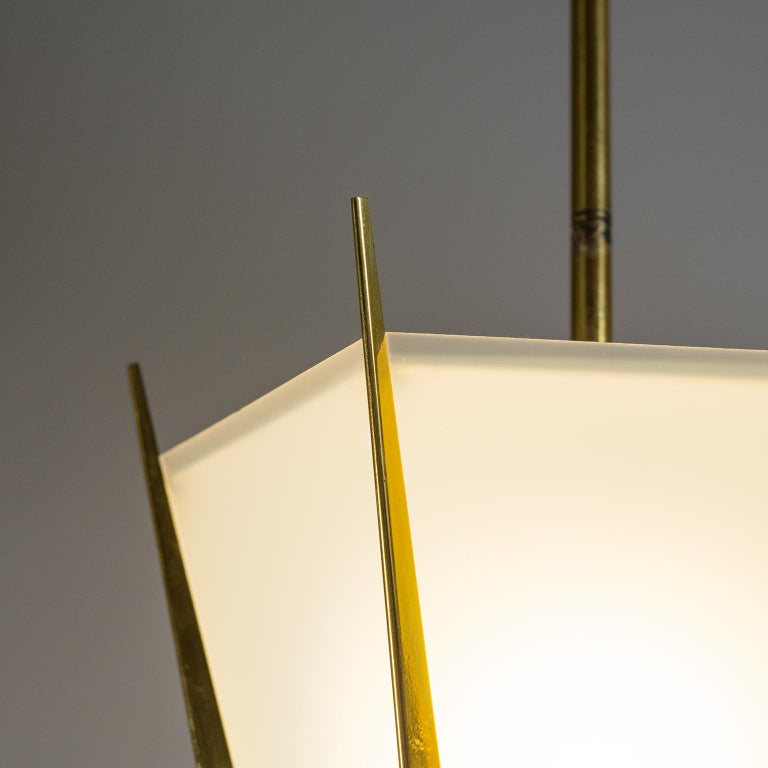French Modernist Brass Pendant, circa 1960 For Sale 9