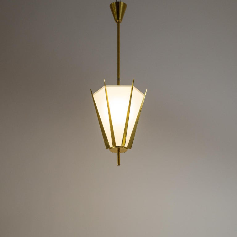 French Modernist Brass Pendant, circa 1960 For Sale 10