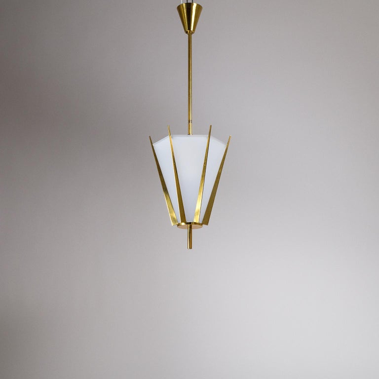 French Modernist Brass Pendant, circa 1960 For Sale 11