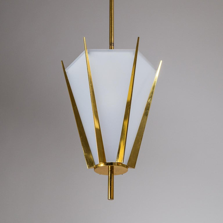 Mid-Century Modern French Modernist Brass Pendant, circa 1960 For Sale