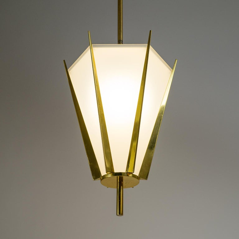 French Modernist Brass Pendant, circa 1960 In Good Condition For Sale In Vienna, AT