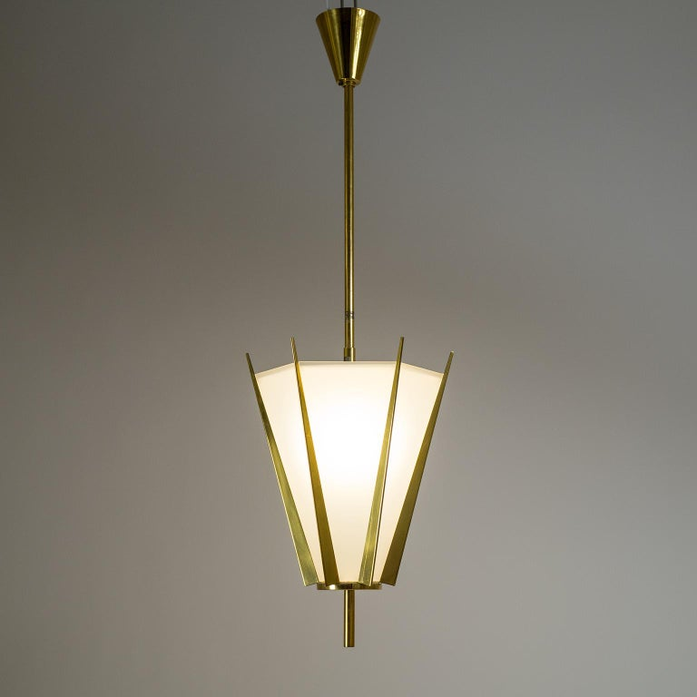 Mid-20th Century French Modernist Brass Pendant, circa 1960 For Sale