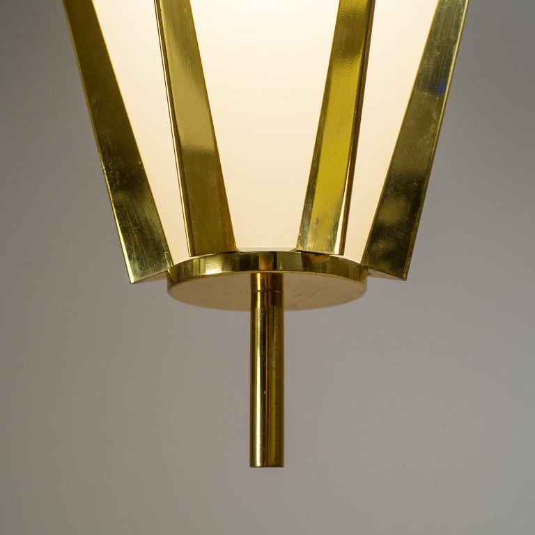 French Modernist Brass Pendant, circa 1960 For Sale 1