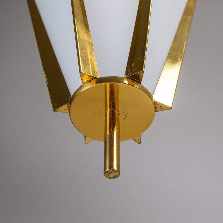 French Modernist Brass Pendant, circa 1960 For Sale 2