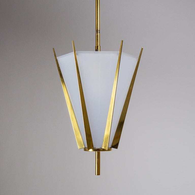 French Modernist Brass Pendant, circa 1960 For Sale 3