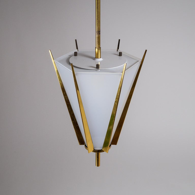 French Modernist Brass Pendant, circa 1960 For Sale 4