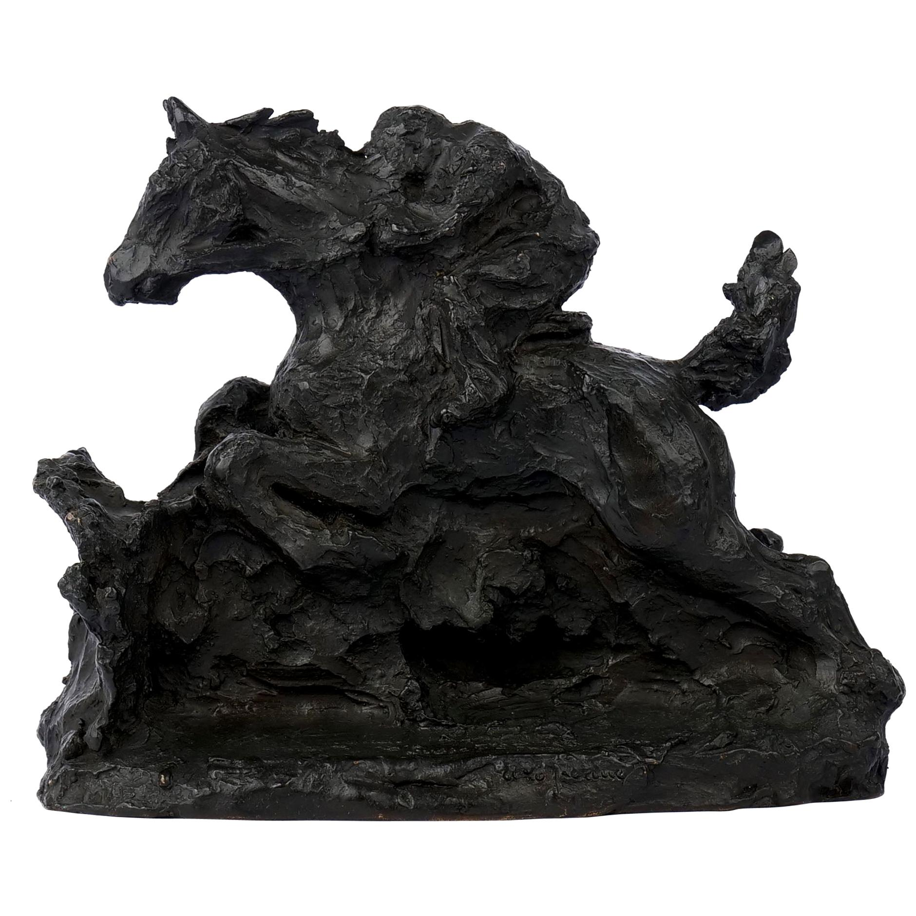 """French Modernist Bronze Sculpture of """"Horse & Rider"""" Cast by Susse Freres"""