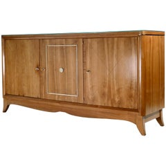 French Modernist Cherrywood and Brass Sideboard, 1950s